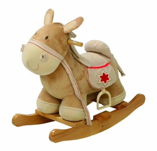 roba Cavallo a Dondolo, in Legno con Imbottitura in Stoffa, Staffa di Protezione, Cavalcabile Utilizzabile dai 18 Mesi