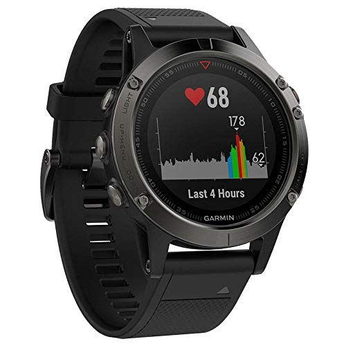 Garmin Fenix 5- Multisport watch, with GPS and heart rate meter, glass lens and stainless steel bezel, 47 mm, black tape