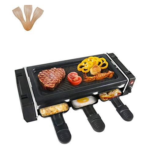 Raclette 2 Personen Mini Raclette Grill, Elektrogrill 700W mit 3 Pfännchen und 3 Holzspatel zum Kochen von Käse, Antihaftbeschichtung, Stufenloses Thermostat - Schwarz