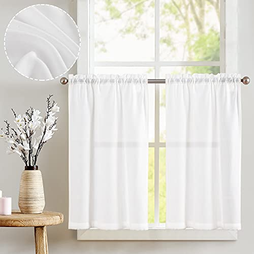 jinchan Tier Curtains Linen Textured 45 Inches Long Curtains for Kitchen Small Cafe Curtains for Window Treatment Set 2 Panels White