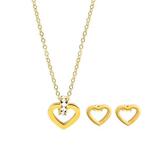 Daesar Juego de Joyas Corazón Circonita Blanca Conjunto Mujer Dos Piezas Pendientes Collar Oro