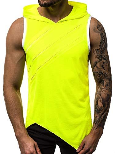 OZONEE Herren Tank Top Tanktop Kapuze Tankshirt Ärmellos Bodybuilding Shirt Unterhemd T-Shirt Tshirt Tee Muskelshirt Achselshirt Trägershirt Ärmellose Training O/1254X GELB-NEON M