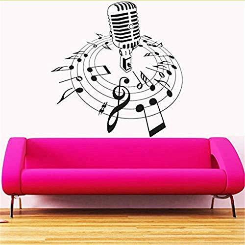 Zbzmm creatieve muziek vinyl tattoos muur microfoon melodie noten lied slaapkamer kunst muurschild Cd Shop decoratie huis 57 x 64 cm