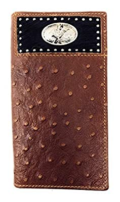Western Men Brown Genuine Leather Ostrich CowFur Metal Emblem Tooled Long Wallet (Rodeo)