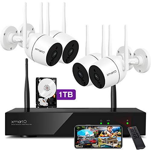 XMARTO Home Security Camera System - 8CH Wireless Expandable NVR with 4 1080p WiFi Security Cameras - PIR & Video Dual Motion Detection, Video Clip Alert, 2-Way Audio, 1TB HDD