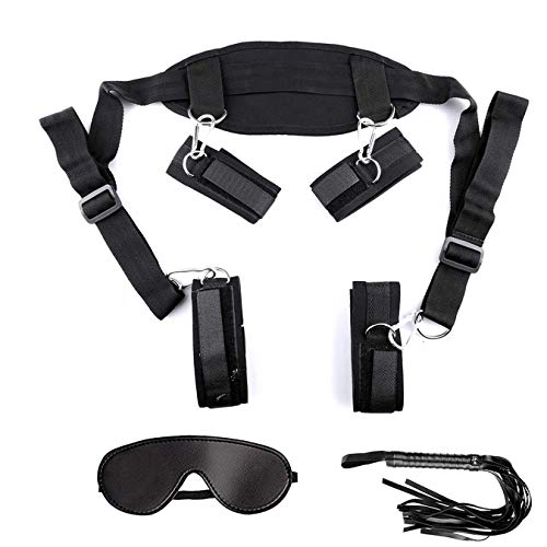 Find Bargain Leather Cuffs with Adjustable Straps Set,Black DBF10