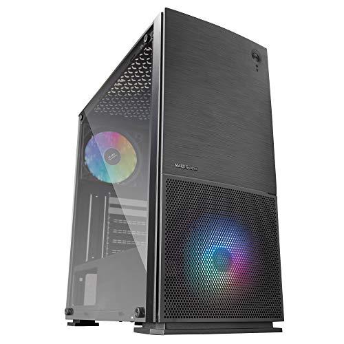 MARSGAMING MC220, Caja Gaming ATX, 2 Ventiladores FRGB, VentanaRejillas, Negro