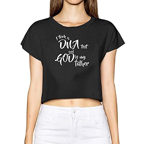AUDNEDB I Took A DNA Test and God is My Father Womens Crop Tops carino casual estate manica corta, Nero , M