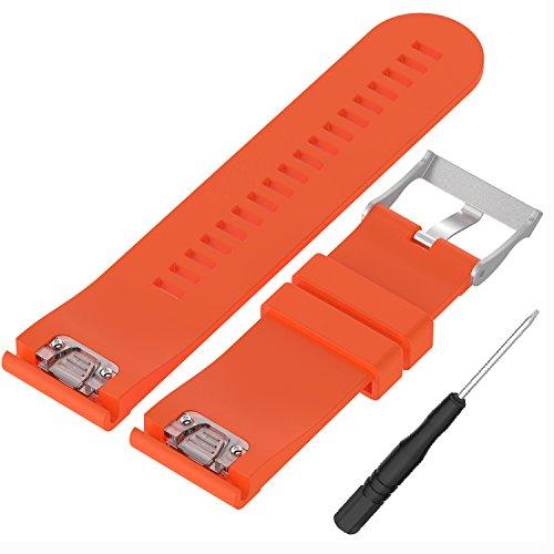 WEINISITE 26 mm Silikon verstellbares Ersatzband Armband für Garmin Fenix 5X GPS Watch (Orange)