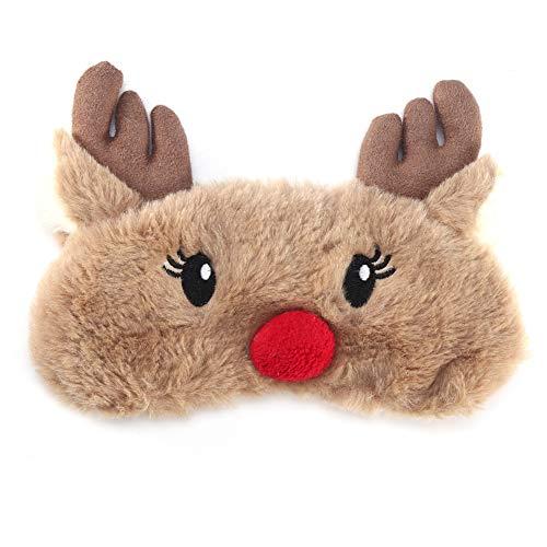 Schlafaugenmaske, Niedliche Tierform Augenabdeckung Weiche Schlafmaske Weihnachten Hirsch Winter Karton Nickerchen Augenschatten Maske, Entspannen Sie Ihre Augen(Elch)