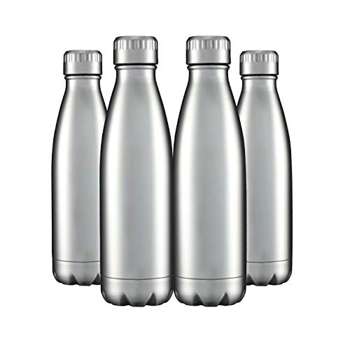 Water Bottles 4 Packs in Bulk Stainless Steel 17oz, Insulated Double Wall Vacuum Sports Fitness Hot Cold Reusable Beach Thermoses, Cola Shape Travel Metal Thermal Flask Sweat Proof Gifts for Bike