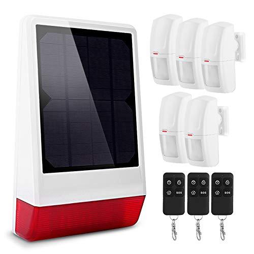 Sirena Inalámbrica, Sistema de Alarma de Seguridad para el Hogar con 5 PIR y 3 Control Remoto, Energía Solar