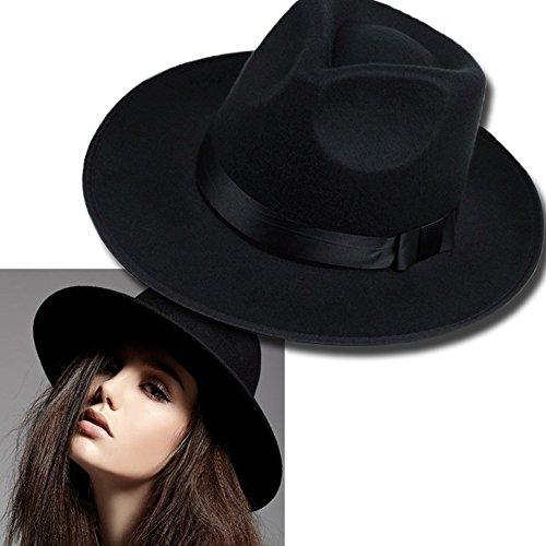 Confumencious Les Hommes Unisexe Hippie Trilby Laine Jazz Bowler Fedora Chapeau Panama Chapeau Gangster Noir,