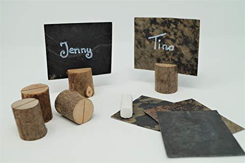 Steinmine Echt Schiefer Platzkarten mit Holzsteg, Tischkarten, Namensschild für Hochzeit inkl. Kreidestift zum beschreiben (10)