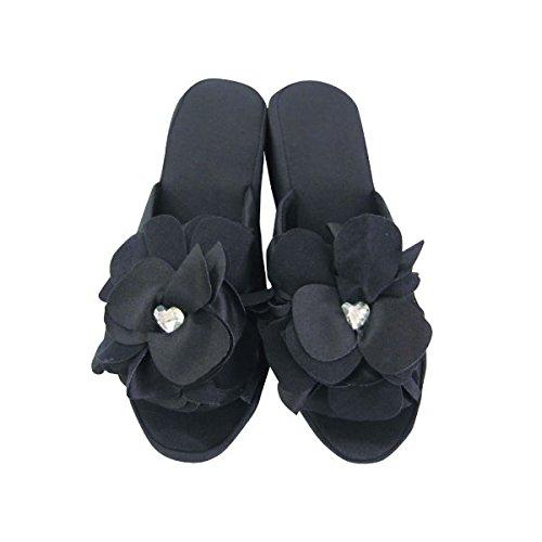 ヒールスリッパ 4cm フラワー [ スリッパ 靴 シューズ ルームシューズ サンダル 前あきスリッパ 黒 フラワー かわいい 楽 おしゃれ ヒール ]