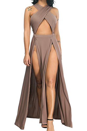 Velius Women Sexy Hollow Out Halter Wrap Sleeveless Plain Pleated Slit Casual Long Maxi Dress (X-Large, Apricot)