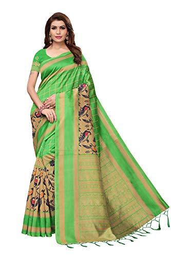 ETHNICMODE Indian Women's Art Silk Fabrics Multi-Colored Printed Sari with Blouse Piece (Fabric) SMRITI Green