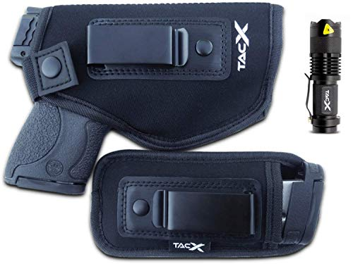 TacX Pro Gear Universal IWB Holster | Concealed Carry | Inside The Waistband Bundle | Bonus Spare Magazine Pouch | Flexible, Breathable, Neoprene | S&W M&P Shield 9/40 1911 XDS Taurus Glock (Right)