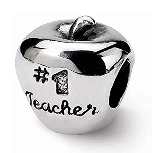 EvesCity 925 Silver #1 Best Teacher Apple Charms Beads Pendants for Charm Bracelets & Necklace