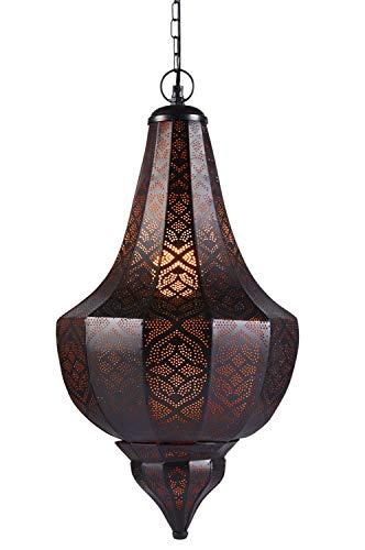 Lámpara Oriental Marroquí - lamparilla colgante - farola de techo Kanita negro 50cm - muy práctica para una iluminación excelente - transmite una decoración excelente refinada