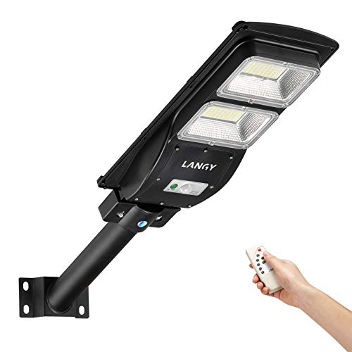 LANGY 60W Solar Street Light 6000 Lumens Outdoor,10000mAH Battery,120 LED Street light Solar powered with Remote Control,Dusk to Dawn outdoor lighting with Motion Sensor,Waterproof
