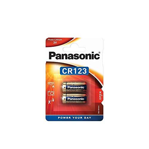 Panasonic CR123 zylindrische Lithium-Batterie für leichte Geräte mit hohem Energiebedarf wie Rauchmelder, Alarmanlage, Stirnplampe, Kameras, 3V, 2er Pack