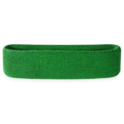 Suddora Sweatband/Headband - Terry Cloth Athletic Basketball Head Sweat Bands (Green)