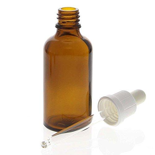 Braunglasflasche mit Pipette, leere braune Kosmetex Glasflasche, Pipettenflasche mit kompletter Pipettenmontur, 50 ml
