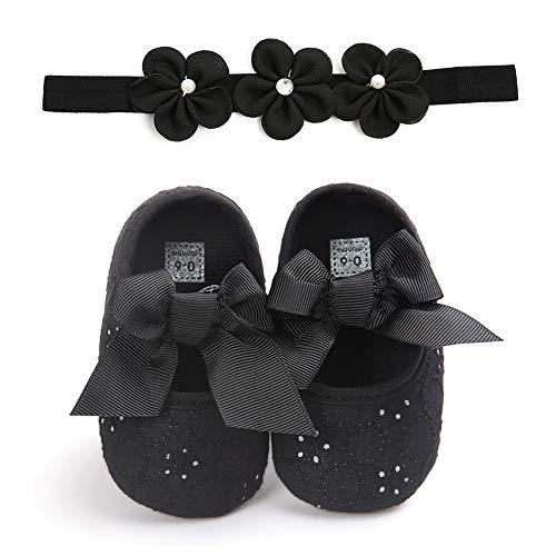 Carolilly Set Babyschuhe für Kleinkinder, mit Schleife, für Kleinkinder, mit rutschfestem Haarband, Schwarz 12-18 Monate