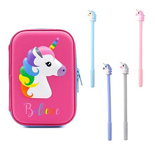 PPX Estuche para lápices Unicornio Estuche Papelería y 4 Piezas de Plumaa Grande Lindo Soporte de Colores con Compartimentos para Escolar Estudiantes Niñas Niños rosado