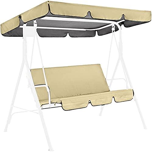 josietomy Techo de repuesto para columpio de jardín de 3 plazas, tela Oxford, resistente a los rayos UV, impermeable, resistente al desgarro, funda con silla (sin balancín)