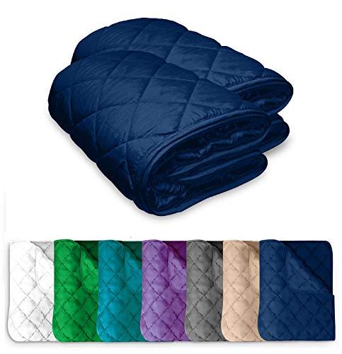 2 Stück Microfaser Sommer Steppbett 135x200 OekoTex – blau dunkelblau Kochfest 95° Leichtsteppbett für Camping und heiße Tage I ohne Bezug verwendbar I farbig & bunt I 2er Set