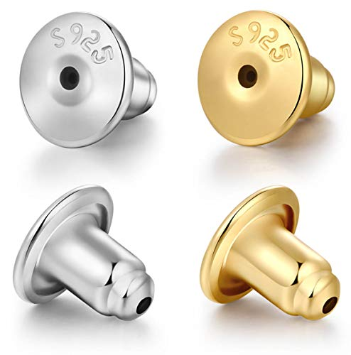 DELECOE 14K Gold Bullet Locking Earring Backs for Diamond Studs,925 Sterling Silver Hypoallergenic Replacements Backings for Pierced Earrings,6mm