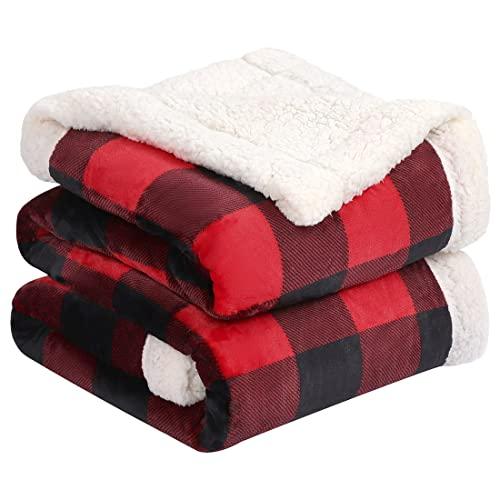 PiccoCasa Sherpa Decke doppelseitiger Decke Kariert Tagesdecke Dicke Kuscheldecke Warm und Weich Flauschige Flanelldecke als Überwürfe Couchdecke Rot+Schwarz 160x200cm