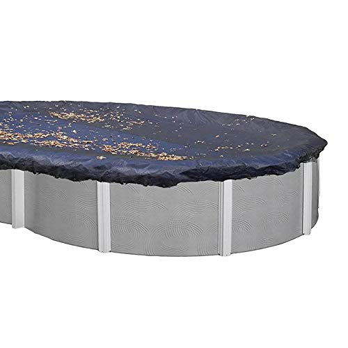 Swimline 18 x 38 Foot Oval Above Ground Heavy Winter Swimming Pool Cover, Blue