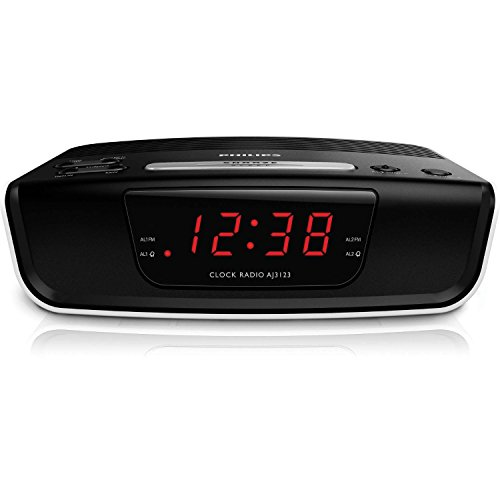 Philips AJ3123 Radiowecker mit Digital Tuner (Dual Alarm, UKW, Sleep timer, Großes Display) schwarz/weiß