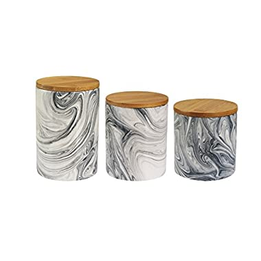 Jay Imports Marble Gray New Bone China Set of 3 Canisters With Wooden Lid