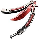 CSGO - Cuchillo sin afilar con Mango Curvado, diseño de Mariposas, Color Rojo