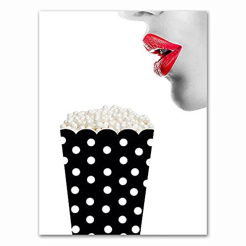 Moda Mujer Labios rojos Maquillaje de pestañas Perfume negro Lápiz labial Salón de belleza Lienzo Pintura Arte de la pared Póster Dormitorio Sala de estar Estudio Decoración para el hogar Mu