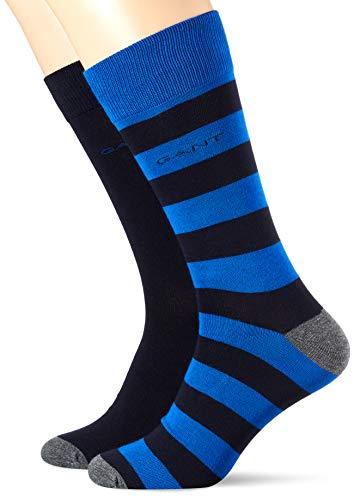 GANT Herren D1. Stripe and SOLID Socks 2-Pack, Nautical Blue, ONESIZE