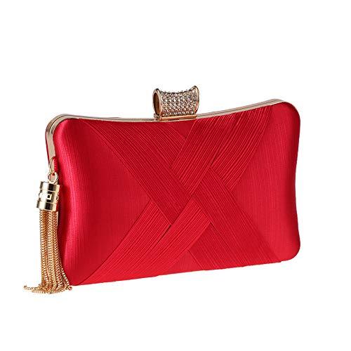 VICTOE Moda mujer bolsa de metal borla artesanía tejido mano mano artesanía fiesta cena bolsa moda, Red, 20*12*6CM, Bolso bandolera