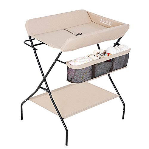 Table à Langer Couche Station De Pliage, Organisateur Commode pour Bébé, Économiser De l'espace (Champagne)