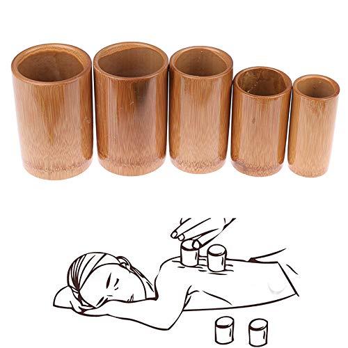 XXXKK Ventose in bambù Massaggio per agopuntura Set per coppettazione con Fuoco in Vaso Tradizionale Cinese, Kit per Cellulite per Terapia del Corpo Carbonizzato, Kit di Sicurezza per Terapia di