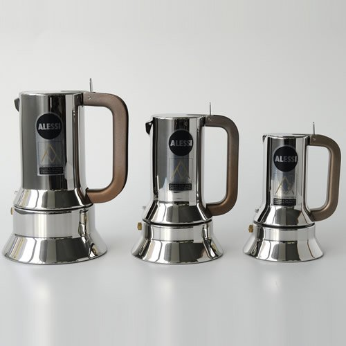 Alessi 6-Cup Espresso Coffee Maker in 18/10 Stainless Steel Mirror Polished with Magnetic Heat Diffusing Bottom