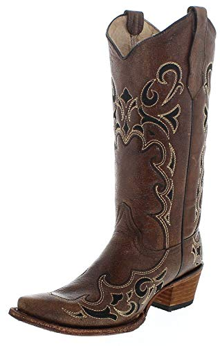 Corral Circle G Boot Women's 12-inch Distressed Leather Side Embroidery Snip Toe Brown/Black Western Boot