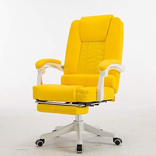 LiKin Silla Gaming Profesional para Niña, Sillas Ergonómica de Escritorio Ajustable Giratoria Silla de Respaldo Alto (Color : Dark-Yellow)