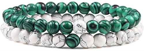 Pulsera Feng Shui Bead Pulsera elástica Natural Pulsera Elástica Yinyang Beads Pareja Distancia Pulseras Malachite Strand Bangles para Mujeres Hombres Yoga Joyería Regalo Pulsera de abalorios de amule