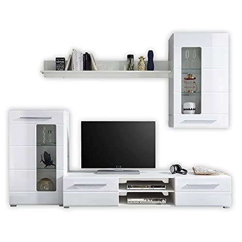 Stella Trading ENRIQUE Wohnwand Komplett-Set in Hochglanz Weiß - Moderne Schrankwand mit schöner LED-Beleuchtung für Ihr Wohnzimmer - 240 x 190 x 42 cm (B/H/T)