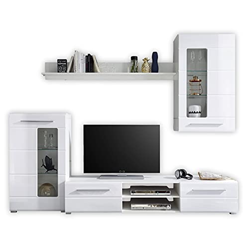 Stella Trading ENRIQUE Wohnwand Komplett-Set in Hochglanz Weiß - Moderne Schrankwand mit schöner...
