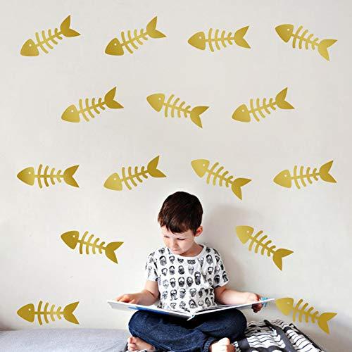 PISKLIU Muurstickers Muurfiguren visgraat patroon muursticker kinderkamer kleuterschool studentenhuis wanddecoratie sticker stijl 3 * 9 cm * 21 delen/set